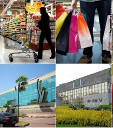 Supermercados e shoppings abertos