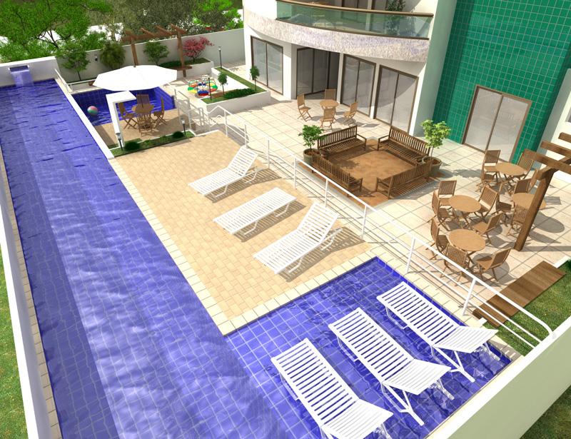 Piscina com raia e cascata s o destaques em residencial for Piscina residencial