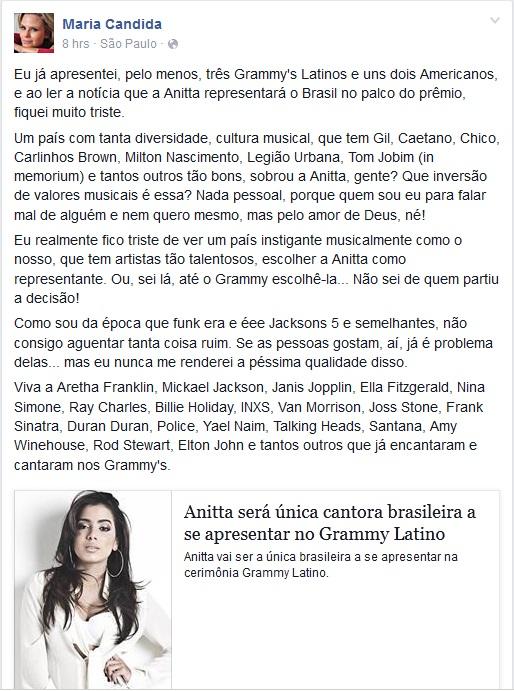 Apresentadora Maria Cândida lamenta escolha de Anitta para o ...