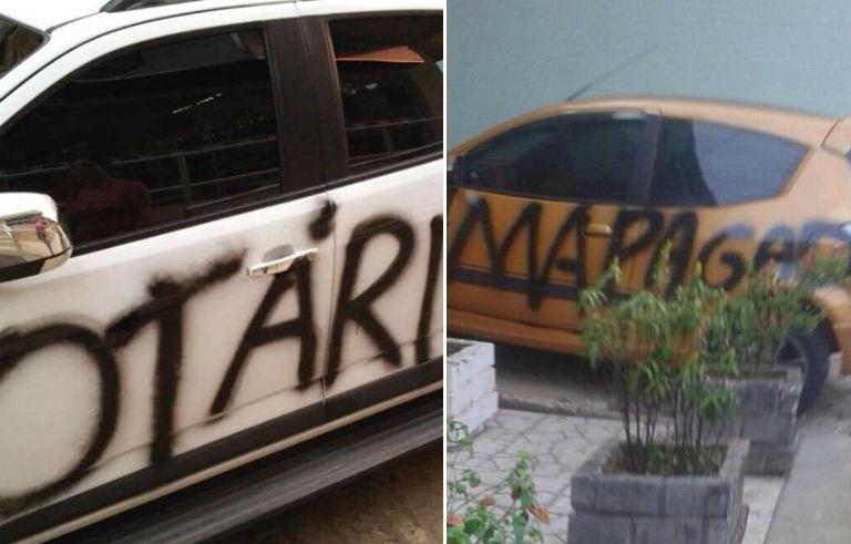 Carros amanhecem pichados com ofensas no centro de Santa Teresa - Folha Vitória