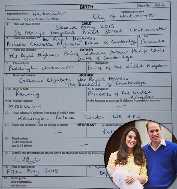 Príncipe William e Kate Middleton mostram certidão de nascimento ...