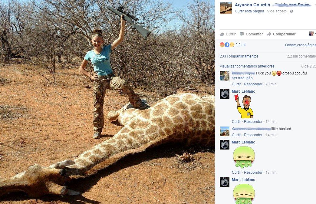 Menina de 12 anos posa com girafa morta e diz que adora caçar ...
