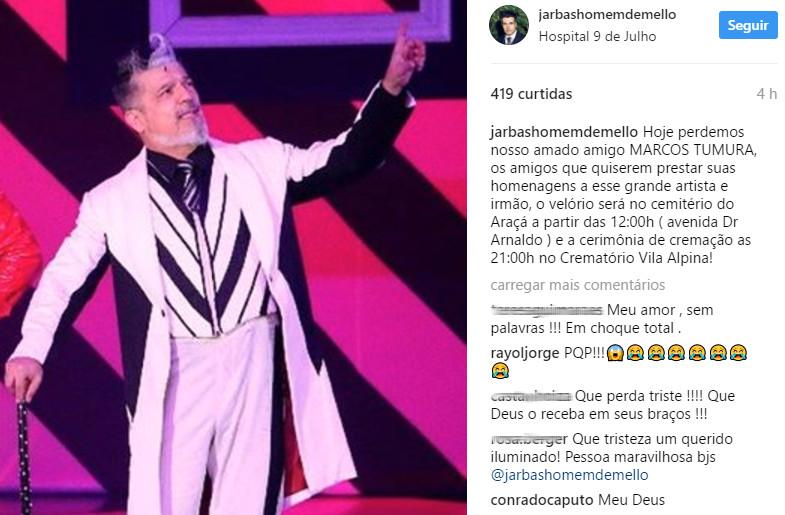 Ator Marcos Tumura morre após passar mal em São Paulo